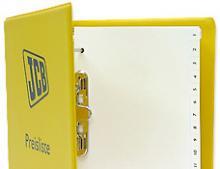 Gelber PVC Ordner mit Logoaufdruck